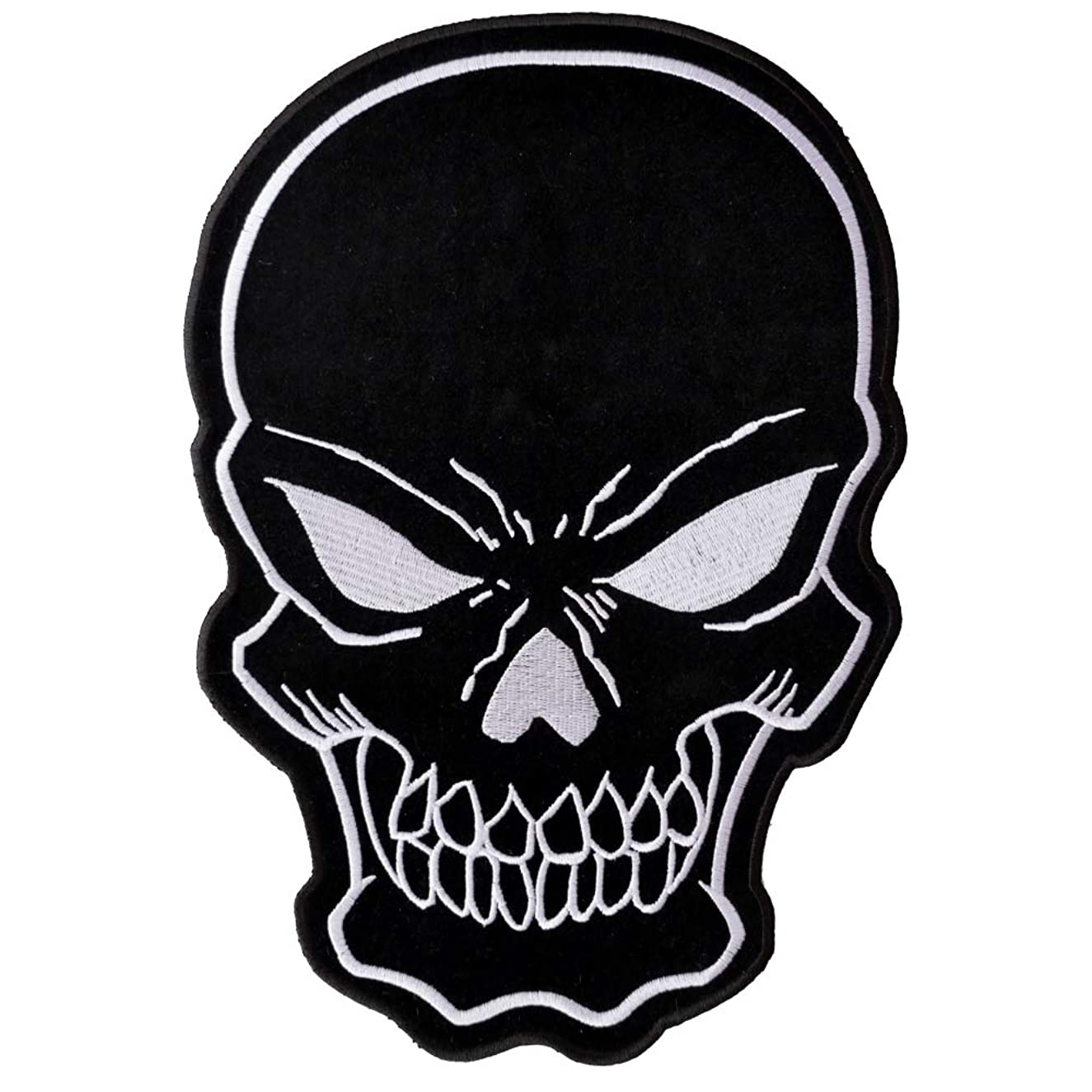 Black Skull Large Back Patch - 8x11 inch. Embroidered Iron on Patch