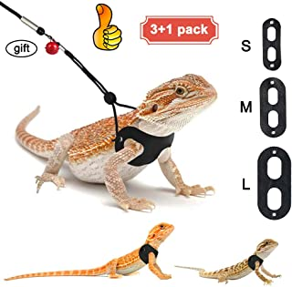 3 Packs Bearded Dragon Harness and Leash Adjustable(S,M,L) - Soft Leather Reptile Lizard Leash for Amphibians and Other Small Pet Animals