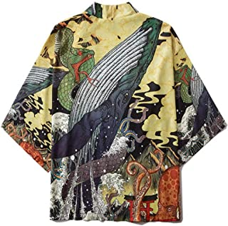 Japanese Style Robe Retro Tang Suit Seven-point Sleeves Unlined Buttonless Trend Men And Women Cloak Jacket Hyococ (Color : 1, Size : XXL)