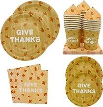 مجموعة أدوات مائدة للاستعمال مرة واحدة من ورق القيقب لحفلات عيد الشكر من بانديكور - تتضمن 24 أطباق عشاء، وأطباق حلوى، وأكو...