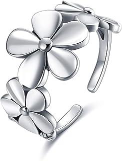 خاتم من الفضة الاسترليني 925 زهرة ديزي خواتم قابلة للتعديل للنساء الفتيات هدايا الأقحوان