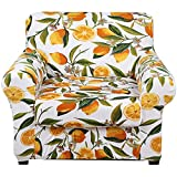 hyha Printed Stretch Sofa Slipcover - Floral Pattern 2 Piece Sofa Cover Washable Furniture Protector with Elastic Strap Chair Couch Cover with Arms (Armchair, Lemon)