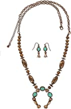 M&F Western Women's Beaded Squash Blossom Necklace/Earrings Set Copper One Size