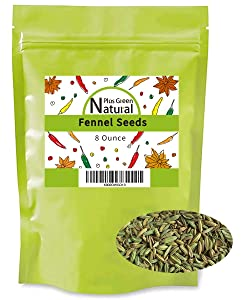 Fennel Seed Whole 8 Ounces, Gluten Free Non GMO Non Irradiated, Foeniculum Vulgare Spice Used to Flavor Meat Fish, Bulk Whole Fennel Seeds for Tea and Cooking