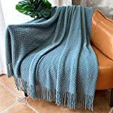 LOMAO Knitted Throw Blanket with Tassels Bubble Textured Soft Blanket Lightweight Warm Throw Blanket for Couch Cover Home Decor (Teal, 50x60)