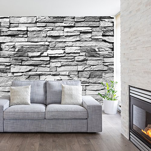 murimage Papel Pintado Piedra 3D 274 x 254 cm Incluyendo Pegamento Fotomurales Muro Alquería Naturaleza Pared Blanco y Negro Sala Living
