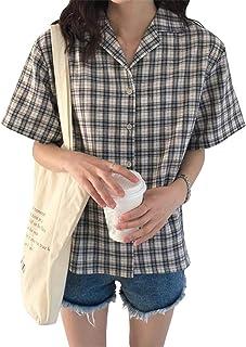 [ユリカー] レディース シャツ 半袖 Tシャツ トップス Vネック ゆったり チェック柄 シンプル 夏 薄手 ファション 通勤 通学 韓国風
