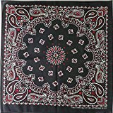 Bandanna Paisley 100% Cotton Made in the USA Bandana - 22 inches (Black and Red)