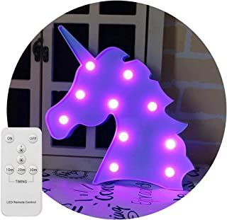 Decorative Night Light LED Marquee Sign with Wireless Remote Control for Kids' Room, Bedroom, Gift, Party, Home Decorations (Blue Unicorn Head - Purple Glow)