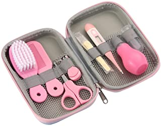 Baby Grooming Kit, 8 in 1 Baby Hair Brush/Nail Clipper/Nose Cleaner/Finger Toothbrush/Nail Scissors/Manicure Kit for Baby Care Keep Healthy and Clean(Blue Pink Yellow) (Pink)