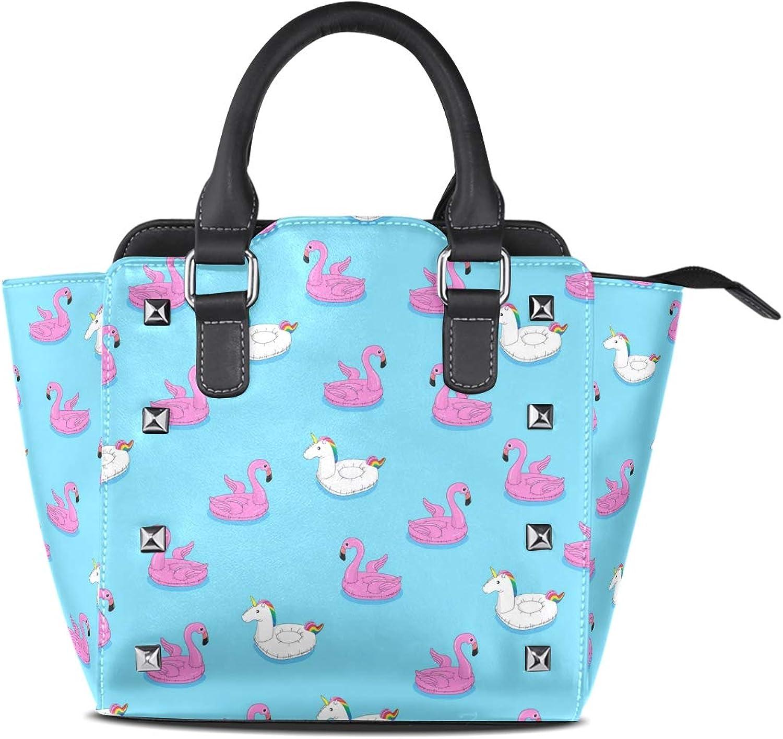 My Little Nest Women's Top Handle Satchel Handbag Floating Flamingo and Unicorn Ladies PU Leather Shoulder Bag Crossbody Bag