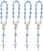 Mini Rosary with Silver Plated Accents for All Religious Events, Baptism Favor, First Communion (Blue 12 Pcs)