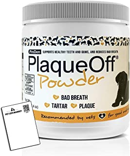 PlaqueOff Powder Supports Normal, Healthy Teeth, Gums, and Breath Odor for Cats and Dogs 180 g
