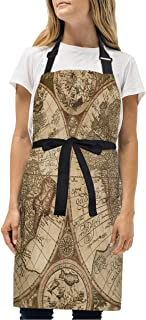 YIXKC Apron Old Map Adjustable Neck with 2 Pockets Bib Apron for Family/Kitchen/Chef/Unisex