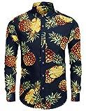Burlady hawaiihemd Herren Ananas Print Strand Sommer langarmhemd Hawaii Hemd für Herren