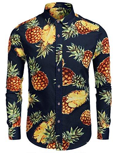 Burlady Hawaiihemd Langarm Sommershirt Dunkel Blau M