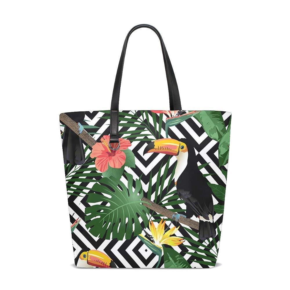 気をつけて今まで心臓トートバッグ かばん ポリエステル+レザー 木ノ葉と鳥柄 幾何柄背景 両面使える 大容量 通勤通学 メンズ レディース