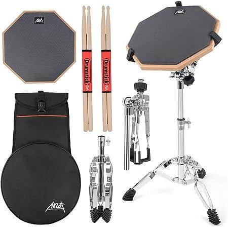 AKLOT ドラム練習パッド 12インチ トレーニング用 スタンド付属 収納ケース・スティック付き ラバー製 ブラック 静音・高反発