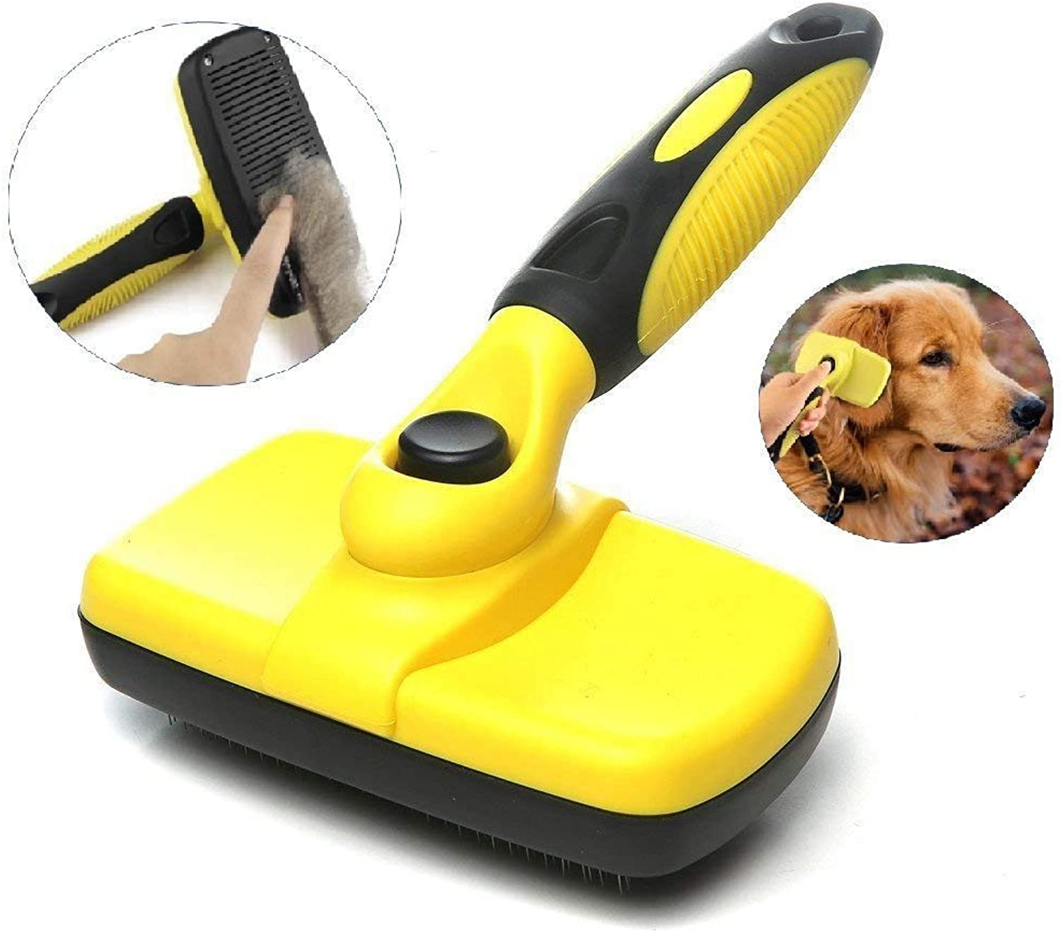 Pet Grooming Brush SelfCleaning Slicker Brushes Best Shedding Tools for Grooming Cats and Dogs with Long Thick Hair