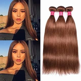 FEEL ME 8A Brazilian Hair 3 Bundles 16 16 18 Inch Unprocessed Virgin Human Hair #30 Auburn Chocolate Brown Brazilian Straight Hair Weave Extension Thick Bundles
