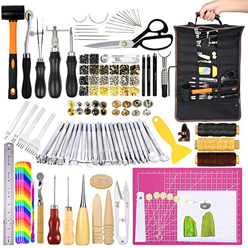 Leather Tooling Kit, Leather Kit with Manual, Leather Working Tools and Supplies, Leather Tools with Leather Stamp Tools, Stitching Groover and Rivets Kit Suitable for Beginners to Professionals