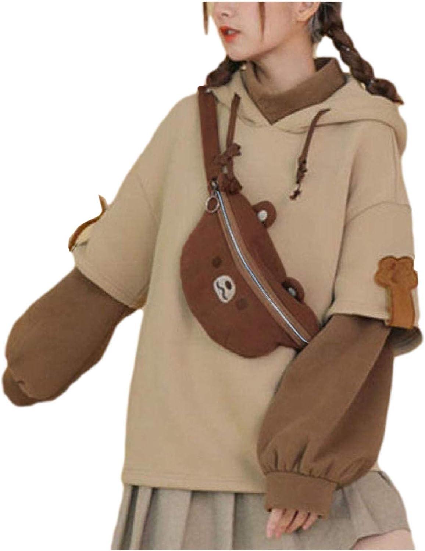 Uppada Teen Girl Women Kawaii Bear Hoodies Long Sleeve Tunic Sweatshirts Comfy Patchwork Casual Pullovers with Cartoon Bag