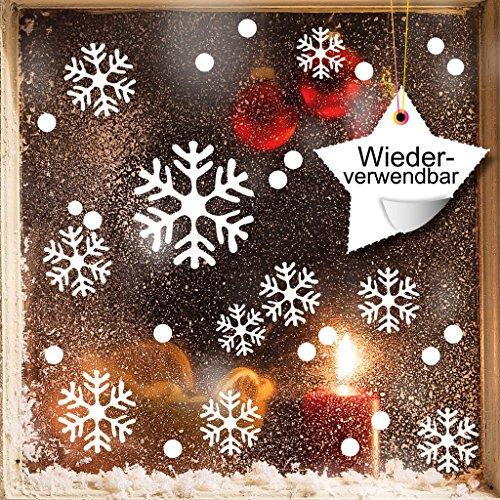 """Wandtattoo-Loft Fensteraufkleber """"Schneeflocken und Punkte"""" - WIEDERVERWENDBAR – Aufkleber in der Farbe WEIß/konturgeschnitten/Fensterbild Wintermotiv/Adventsdekoration"""