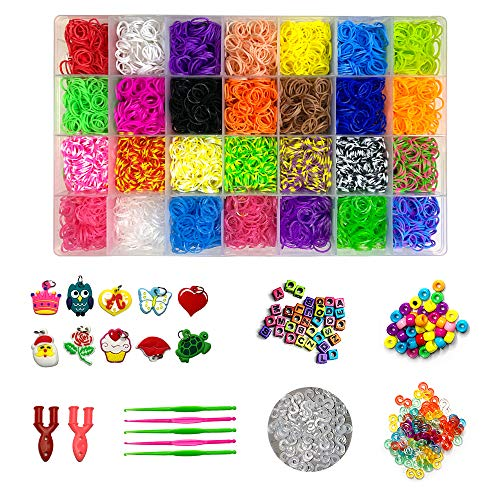 11000+ Rainbow Rubber Bands Refill Kit for DIY Bracelet Making, Including 10,000 Rubber Bands in 28 Colors, 500 S-Clips, 60 Colorful Beads, 12 Charms,5 Crochet Hooks