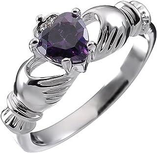 UPCO Jewellery Donna Sterling Silver, Birthstone Irlandese Claddagh febbraio con Ametista 4 Poli Set 9 Millimetri 2ct CZ C...