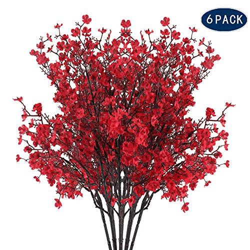 AILANDA 6PCS Gypsophila Artificial Flowers Red Silk Baby's Breath Bush Fake Gypsophila Bouquets Vase Decoration Flowers for Home Wedding Party Table Centerpieces Backdrops Arrangement Decor