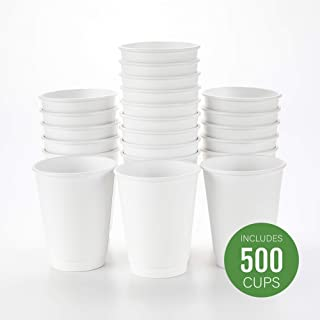 500-CT Disposable White 12-oz Hot Beverage Cups with Double Wall Design: No Need for Sleeves - Perfect for Cafes - Eco Friendly Recyclable Paper - Insulated - Wholesale Takeout Coffee Cup