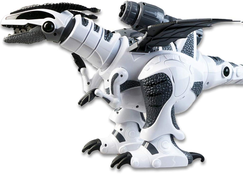 FFLSDR Fernsteuerungsdinosaurier-Spielzeugsimulationstier groes elektrisches Feuer-atmendes Tyrannosaurus intelligente Kinderspielwaren (Farbe   Weiß)