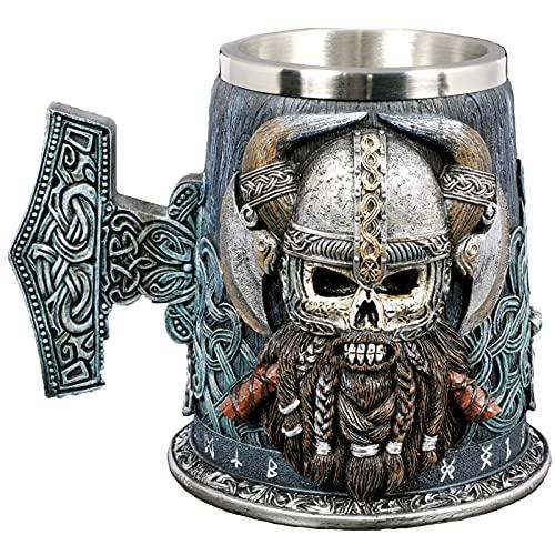 Taza de cerveza de acero inoxidable 304L, taza de agua con diseño de casco de Odin de mitología nórdica, taza de café Viking Warrior, regalo único 20 oz/600 ml