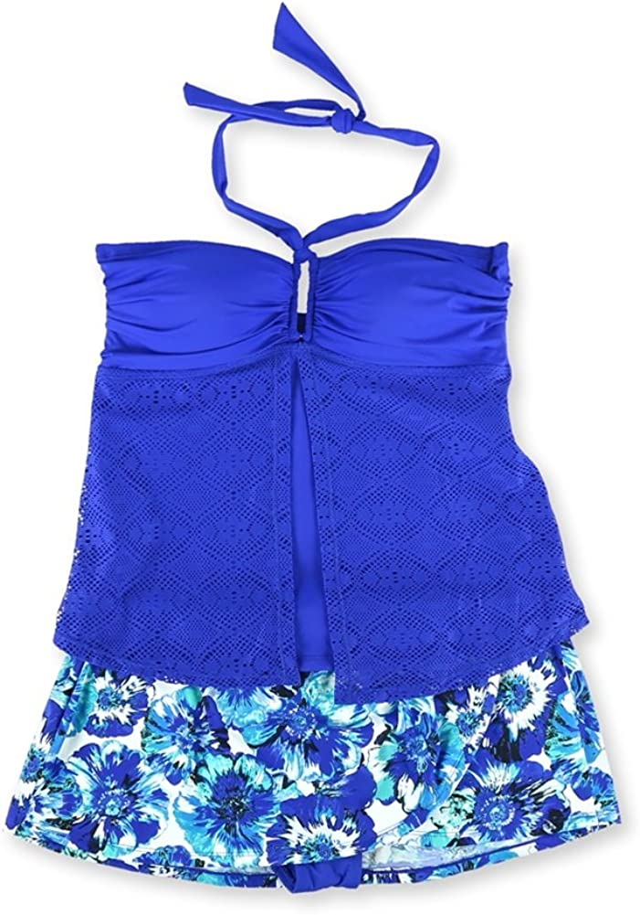 Jones New York Womens Crochet Wrap Skirt 2 Piece Tankini, Blue, 8
