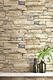 Contemporary Natural Limestone Brick Wallpaper (Cream and Grey)