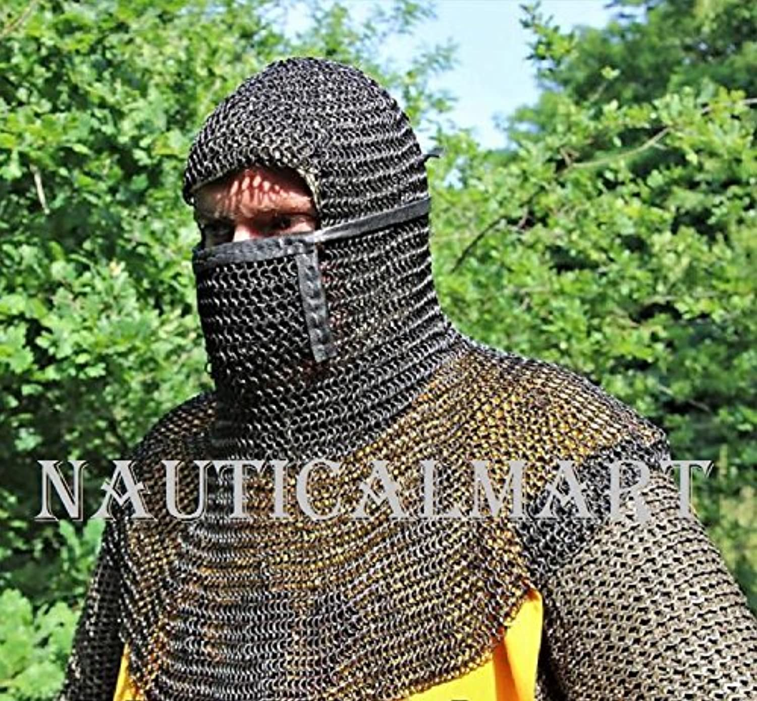 NAUTICALMART Medieval Coif with Square Visor Blackened 8 mm