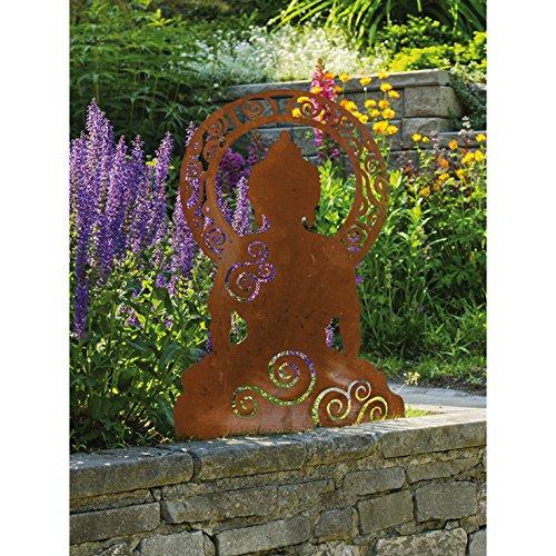 Dekofigur Gartendekoration Buddha 60cm Metall Rost