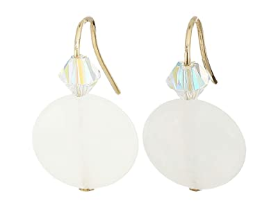 Alex and Ani Quartz Gemstone Earrings (White/14KT Gold Plated) Earring