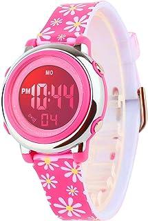 Kid's Digital Watch Outdoor Sports Waterproof Electronic Watches Alarm Clock Stopwatch Calendar Boy Girl Wristwatch (Rose ...