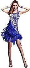 ZX Dancewear Women 1920s Gatsby Sequin Embellished Fringed Flapper Latin Dress