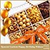 Happy Birthday Gift Basket, Wooden Nut Tray Platter + Orange Ribbon (12 Piece Assortment) Arrangement Platter, Care Package Variety, Healthy Food Tray, Kosher Snack Box for Mom, Women, Men, Adults #1