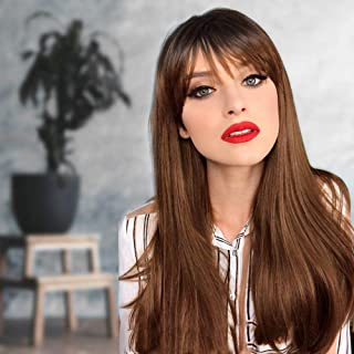 AISI QUEENS Long Straight Brown Wig with Bangs Synthetic Ombre Brown Wigs for Women Natural Looking Wigs Cosplay Party Costume Use Heat Resistant Fiber(22 Inch)