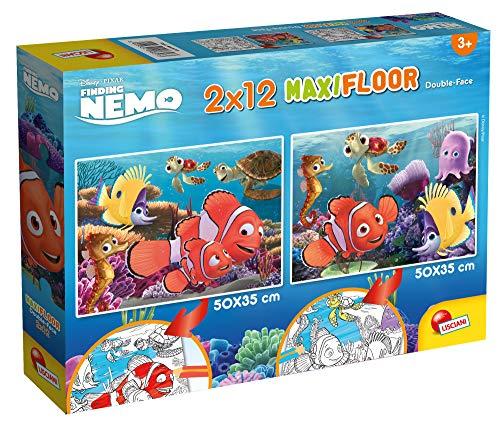 Lisciani Giochi- Disney Puzzle Supermaxi 2 x 12 Nemo Bambini, Multicolore, 86573