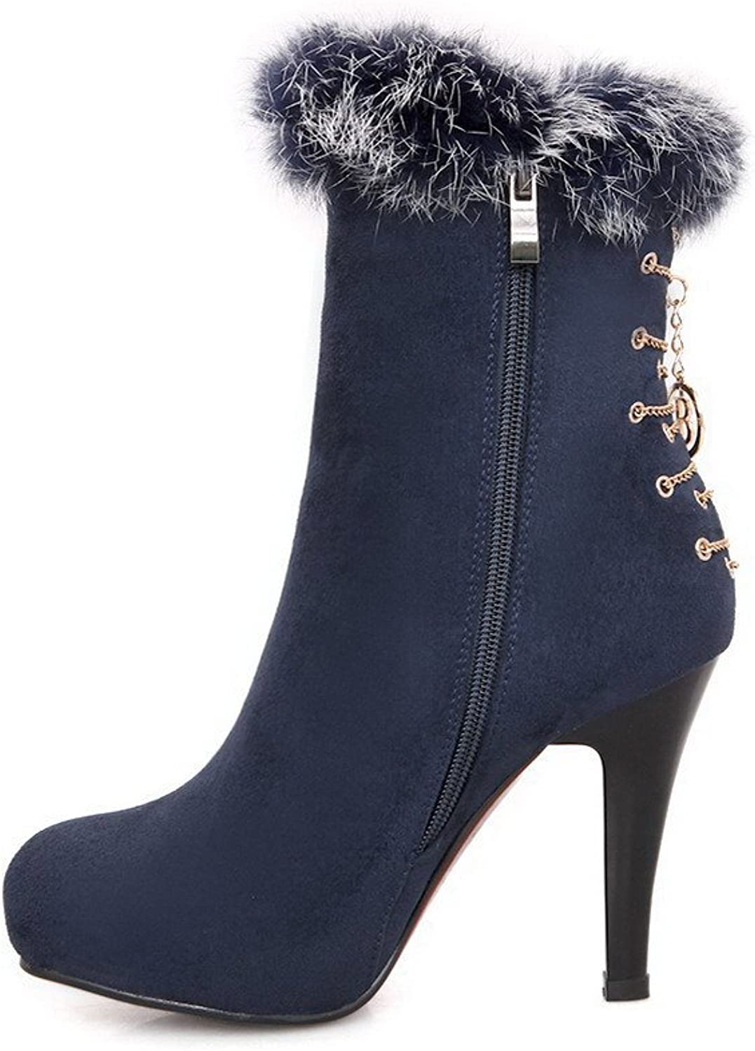 QueenFashion Women's Close Round Toe Platform Metal Chains Cone Heels Frosting Leather Ankle High Boots with Zippers