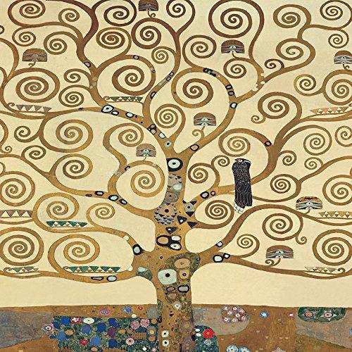 Cadre Impression sur Panneau en bois MDF Gustav Klimt The Tree of Life II 40x40 CM bord noir