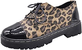 Aubbly Womens Shoes Sport Casual Walking Athletic Non Slip Leopard Print Loafer Lace Up Flats Breathable Sneakers