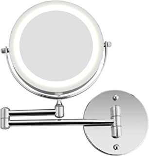 """Homdox 7"""" LED Double Sided Swivel Wall Mount Vanity Mirror - 5X Magnification, 360°Rotating Extendable Arm, Natural Light for Makeup, Shaving in Bathroom or Bedroom (7 Inch 5X)"""