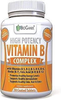 Bioganix Vitamin B Complex Supplement, Vitamin B12, B1, B2, B3, B5, B6, B7 Biotin & B9 Folic Acid, Vegan High Potency Caps...