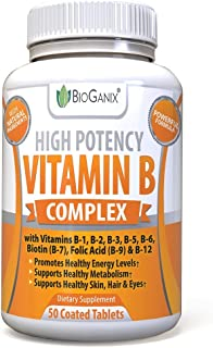 BioGanix Vitamin B Complex Supplements for Healthy Skin, Hair and Eyes, Vegan, 50 Capsules