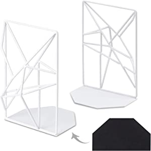 Kirbs' Kollection Bookends, Extra Heavy Duty Metal Bookend Supports for Shelves and Desk, Year 2020 Unique 3D Geometric Design, 1 Pair (White)